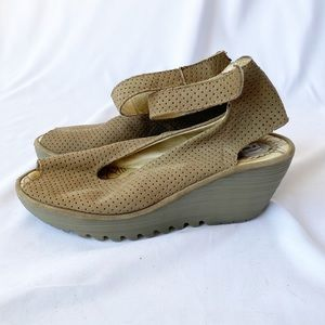Fly London Yala Tan Perforated Suede Leather Wedge